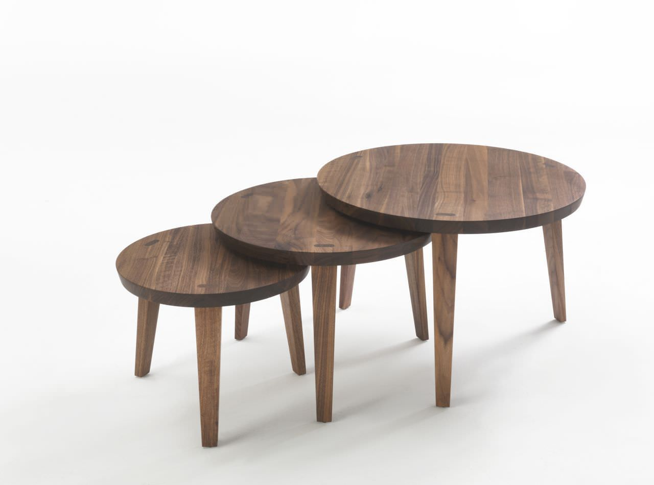 Contemporary Nesting Tables Solid Wood Round Tao 2014 Riva Industria Mobili