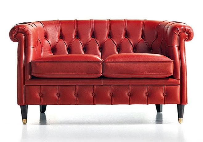 Divani In Pelle Due Posti.Chesterfield Sofa Leather 2 Person Red Sabrina Rosini
