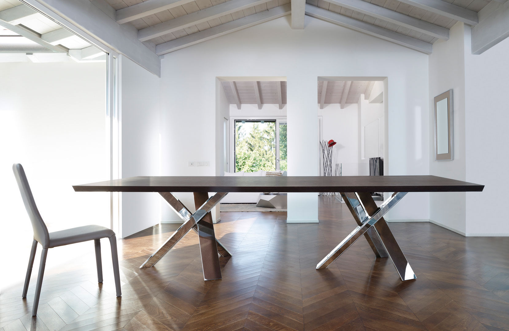 Contemporary Dining Table Wooden Glass Lacquered Wood TWINS - Glass or wood dining table