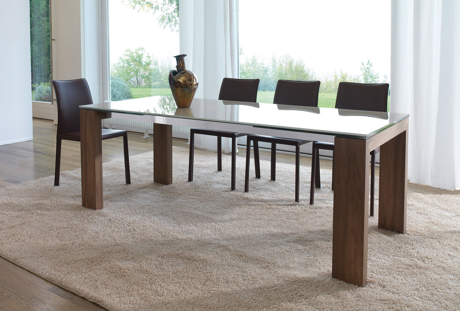 Contemporary dining table glass lacquered wood tempered glass aliante