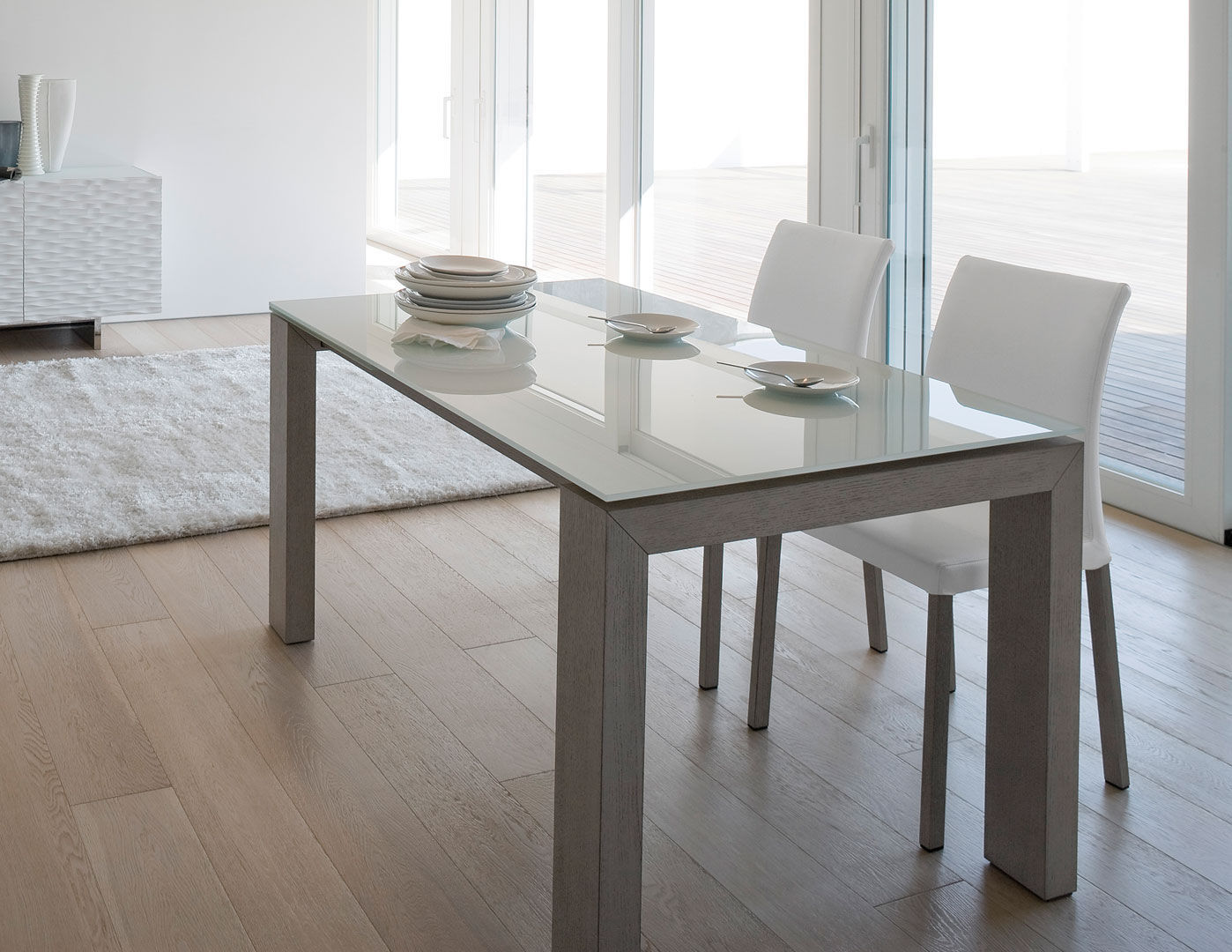 Contemporary Dining Table Glass Lacquered Wood Rectangular MONTREAL ANTONELLOITALIA