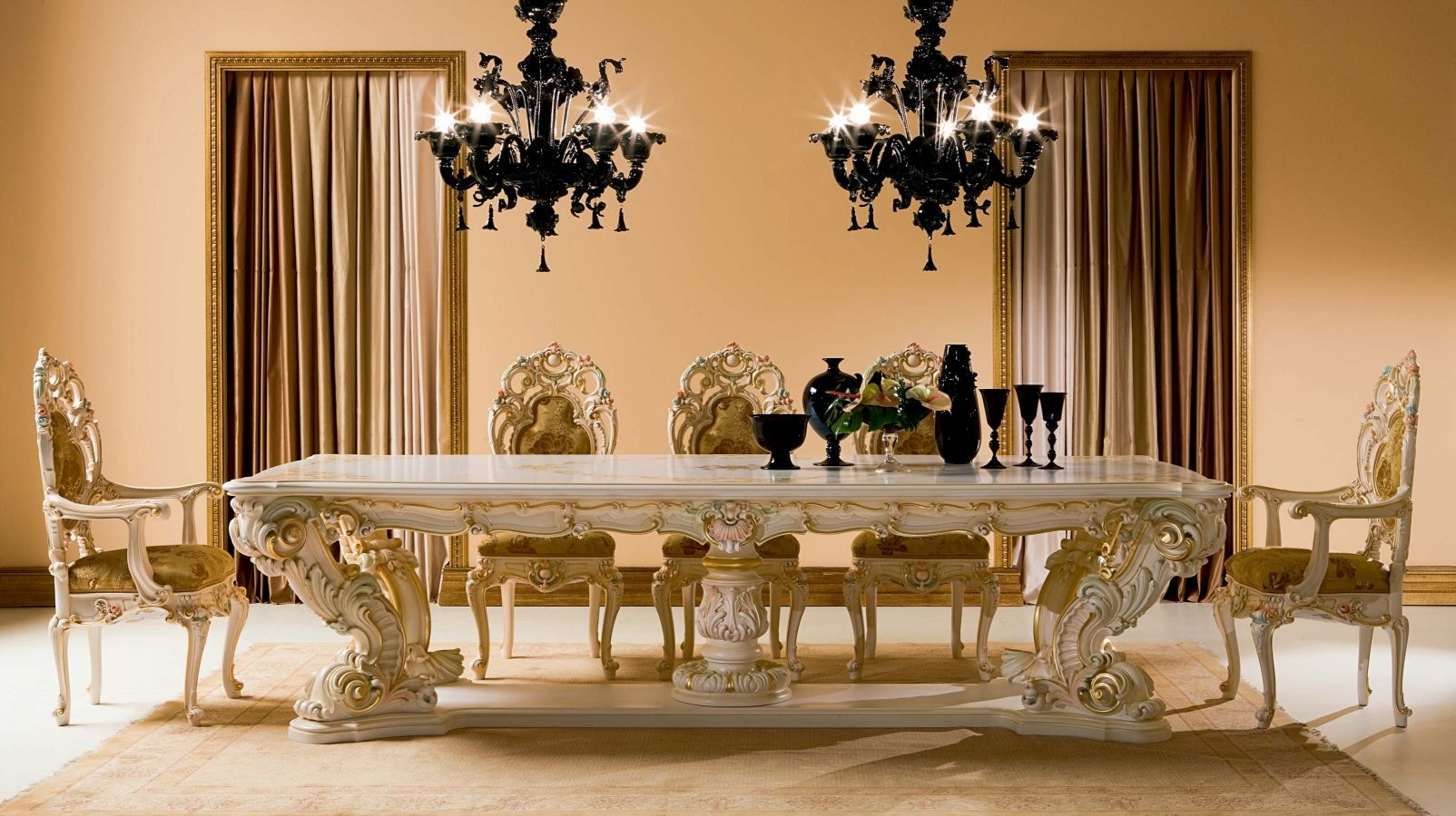 Classic dining table / crystal / rectangular / for hotels ...