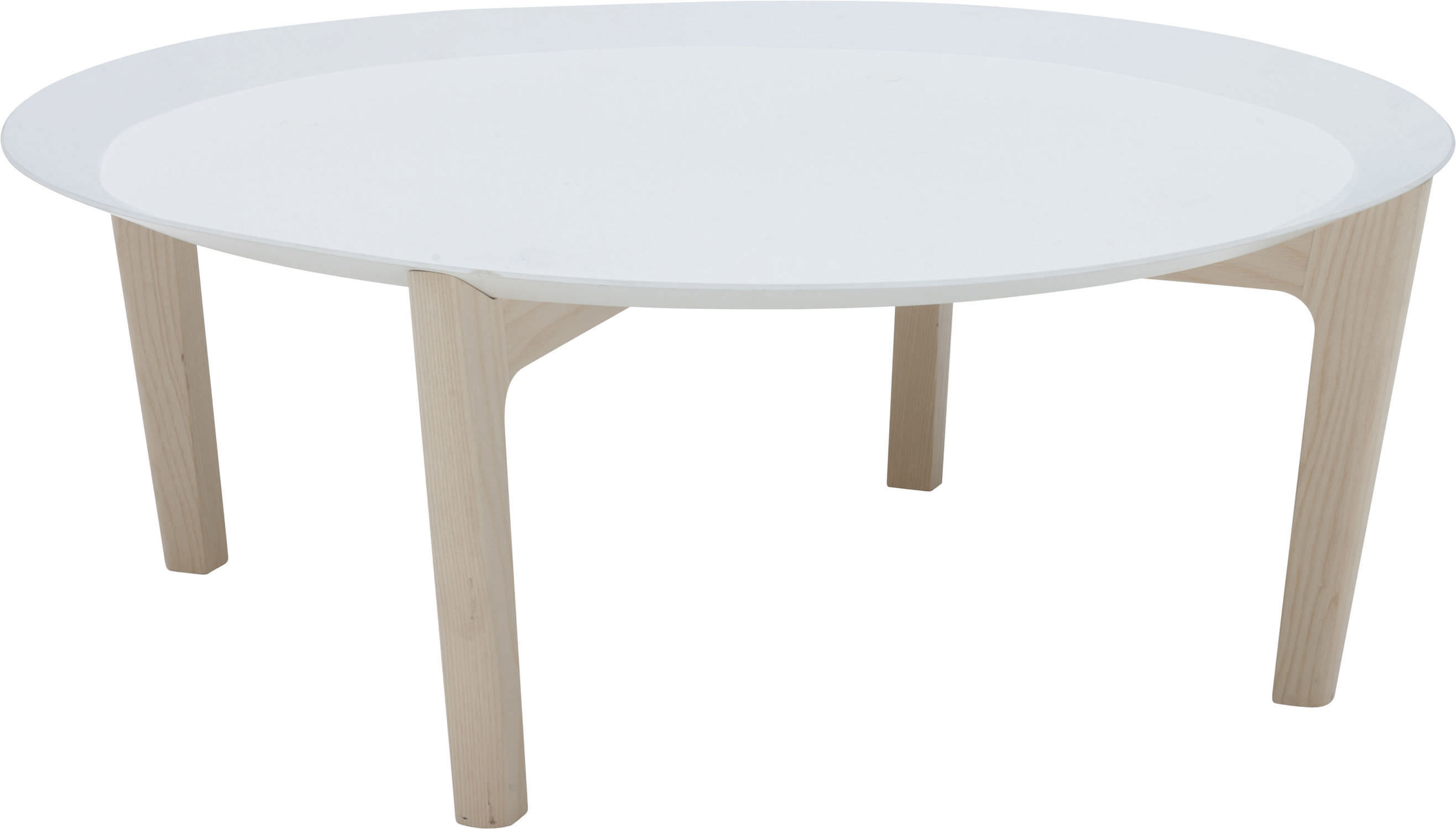 Contemporary coffee table wooden round white TRAY by
