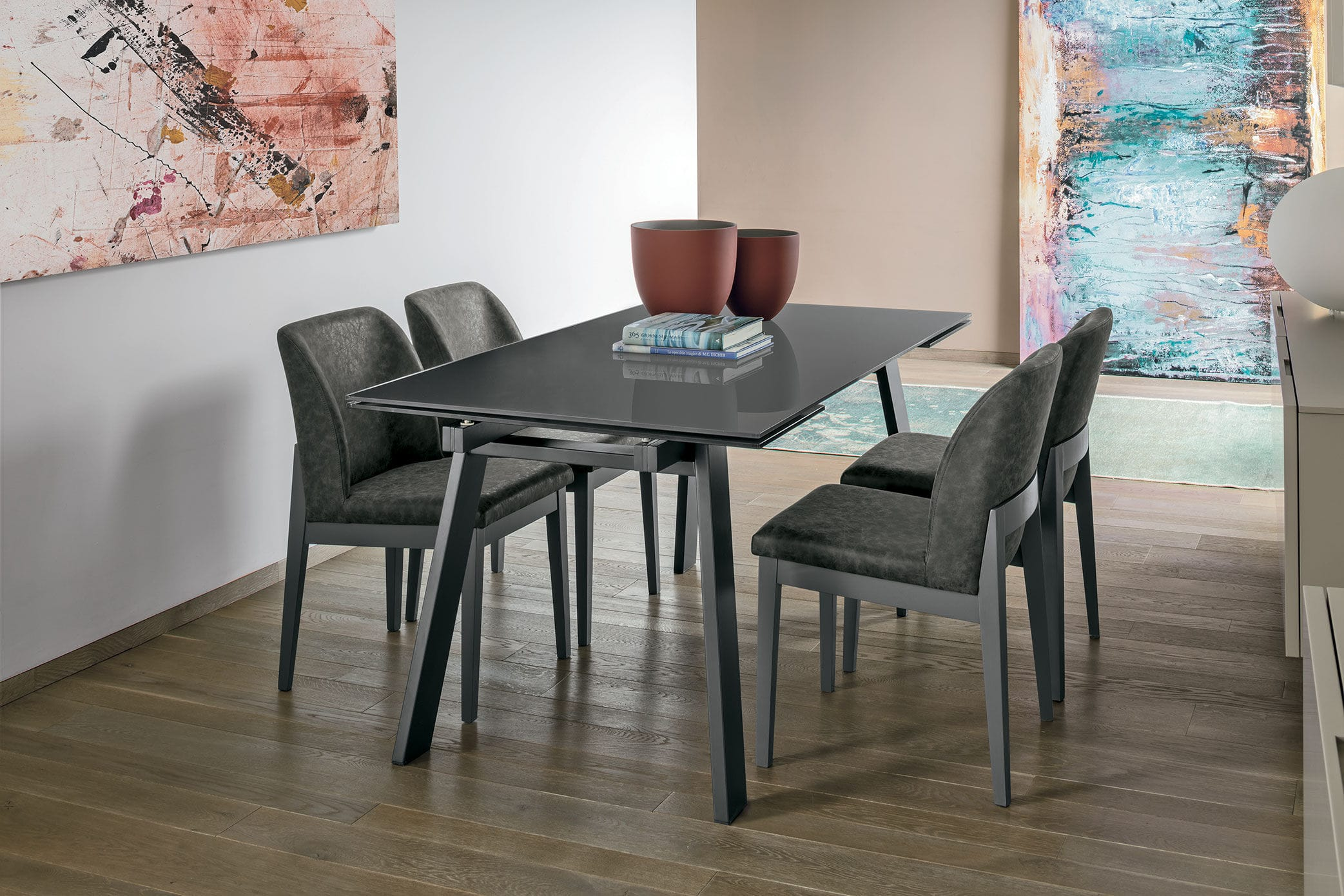 Contemporary dining table / tempered glass / metal / porcelain ...