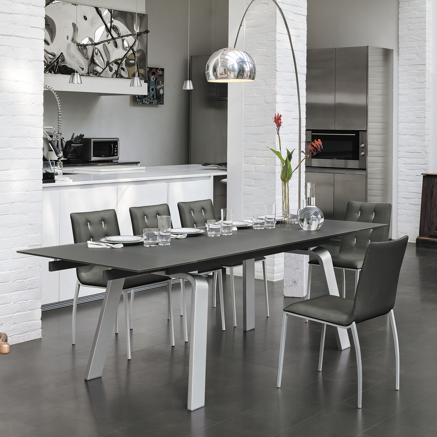Contemporary Dining Table Glass Metal Tempered Marte