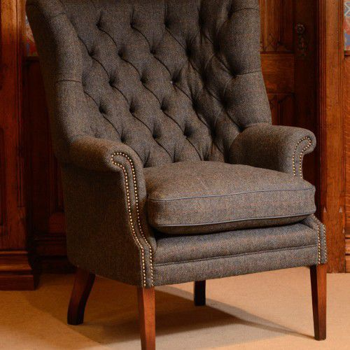 Chesterfield armchair fabric leather wing MACKENZIE Tetrad