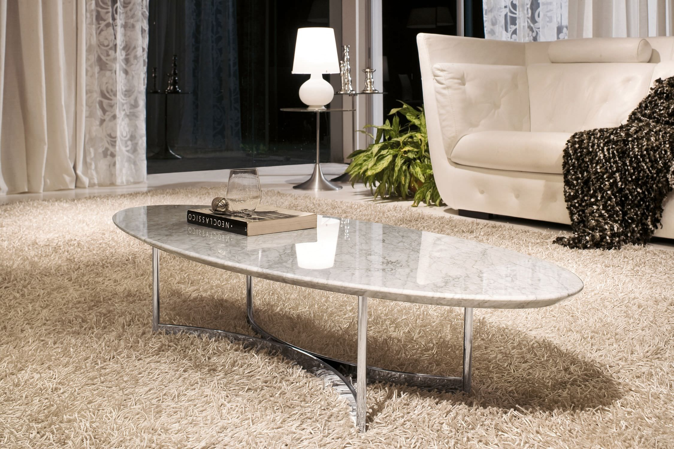 Contemporary Coffee Table Marble Chromed Metal Oval Parioli