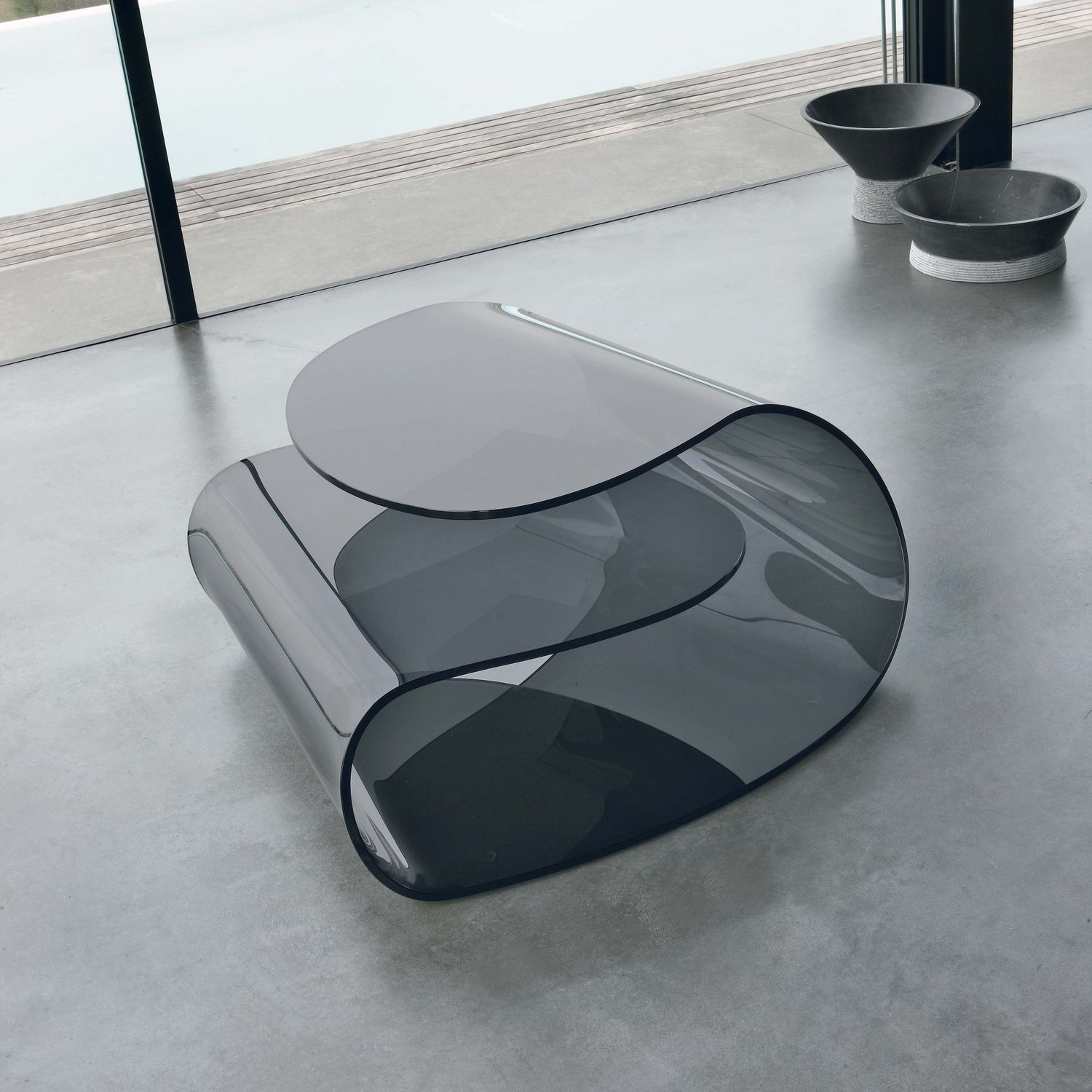 Contemporary Coffee Table Glass Curved Transpa Volup