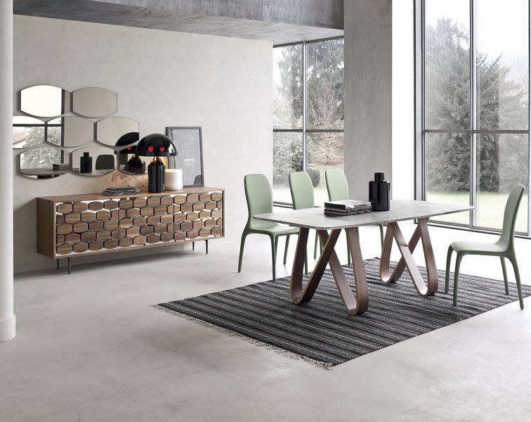 Contemporary Dining Table / Wooden / Marble / Tempered Glass   BUTTERFLY