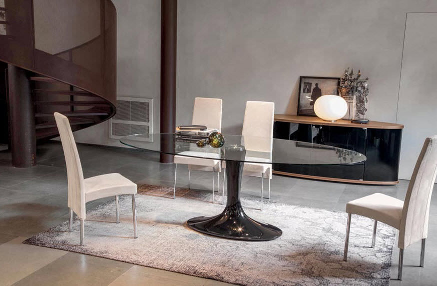 Contemporary Dining Table / Marble / Tempered Glass / Oval ...