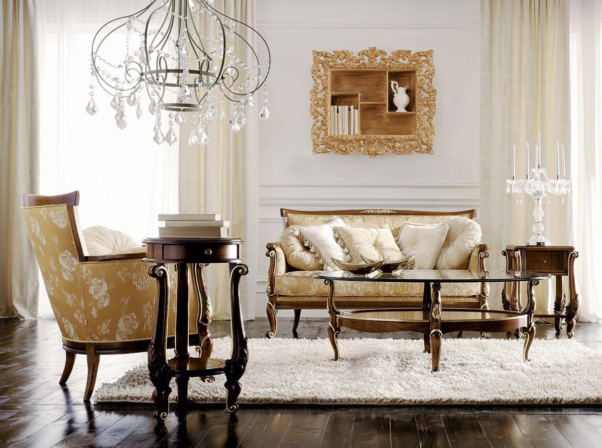 Oval classic coffee table - Classic Coffee Table Glass Walnut Oval Boemia Volpi