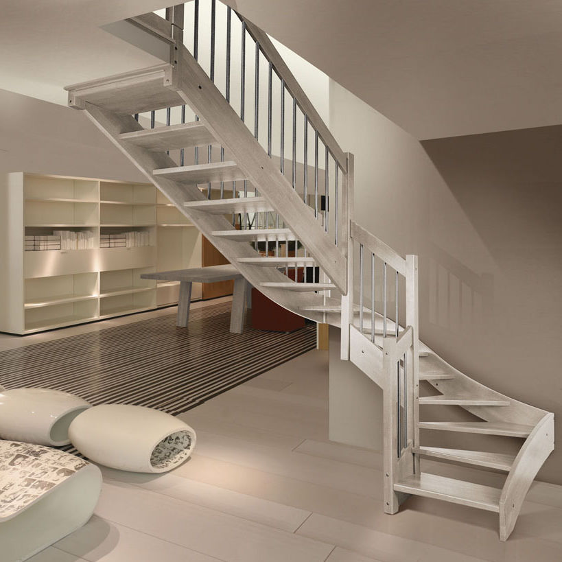 Half Turn Staircase Wooden Frame Steps Without Risers Imperia F1 Inox