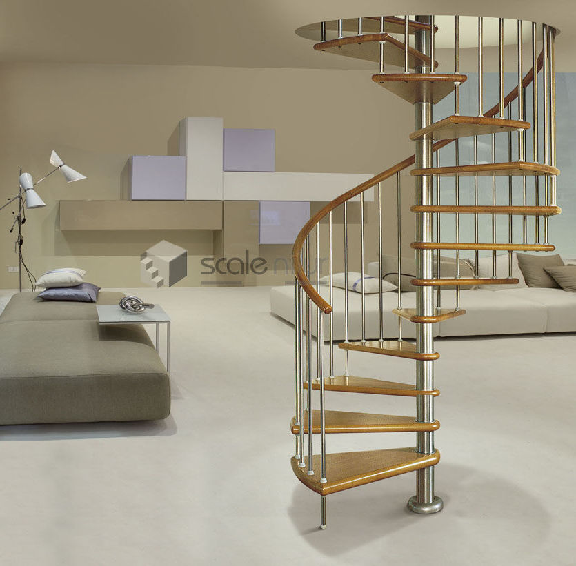 ... Spiral Staircase / Stainless Steel Frame / Wooden Steps / Without  Risers ...