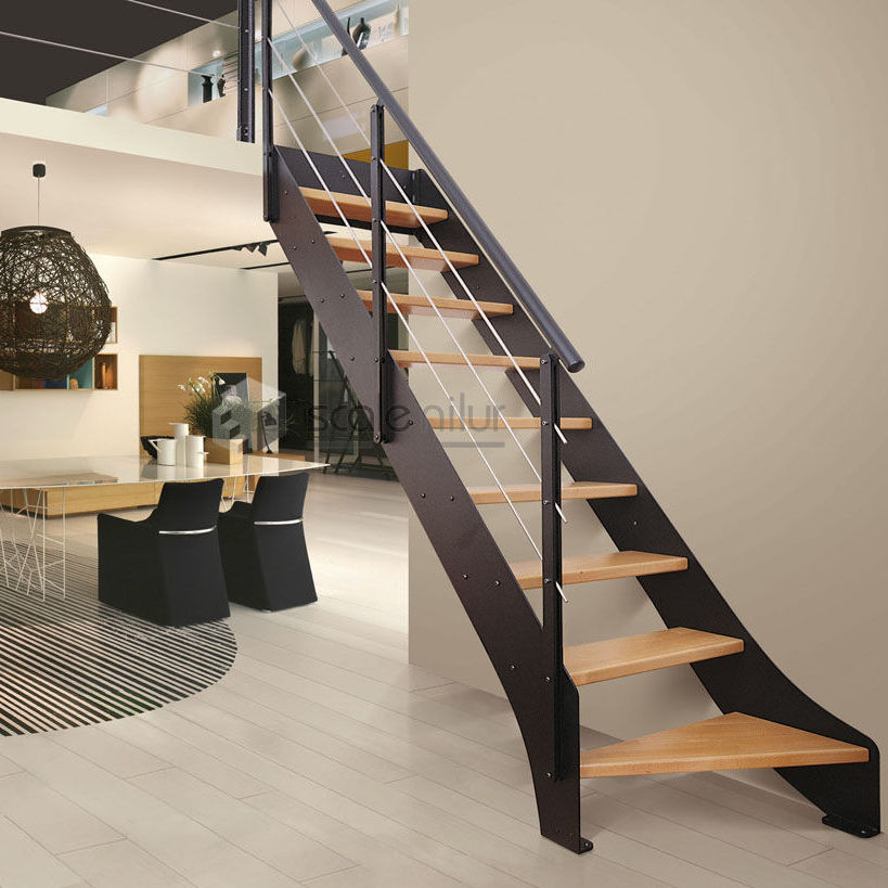 Straight staircase / wooden steps / metal frame / without risers ...