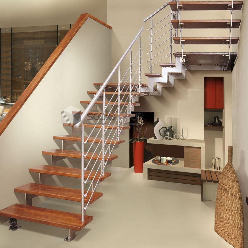 Elegant Half Turn Staircase / Metal Frame / Wooden Steps / Without Risers ...