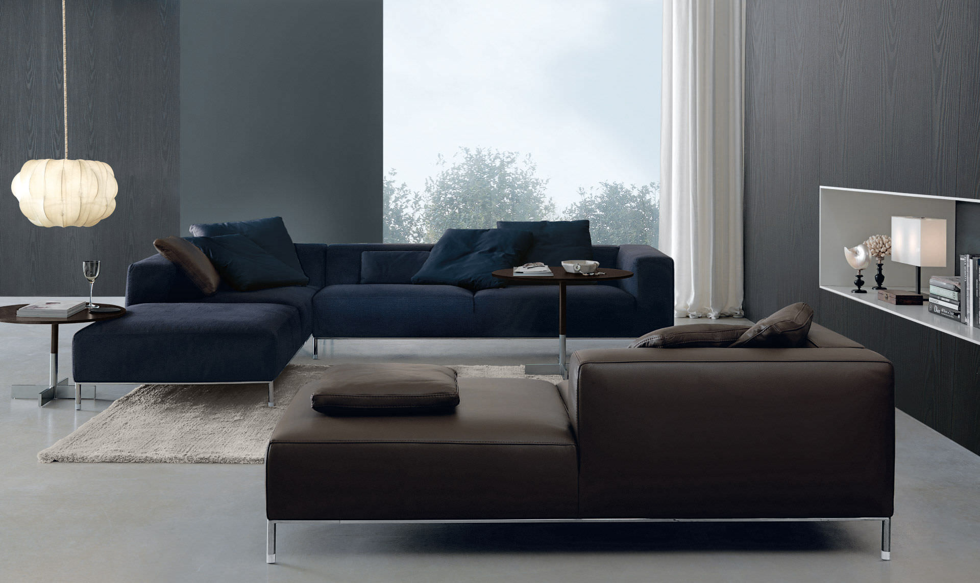 Contemporary Sofa / Polyurethane / 4 Seater / Blue   MARTIN By Graziella  Trabattoni