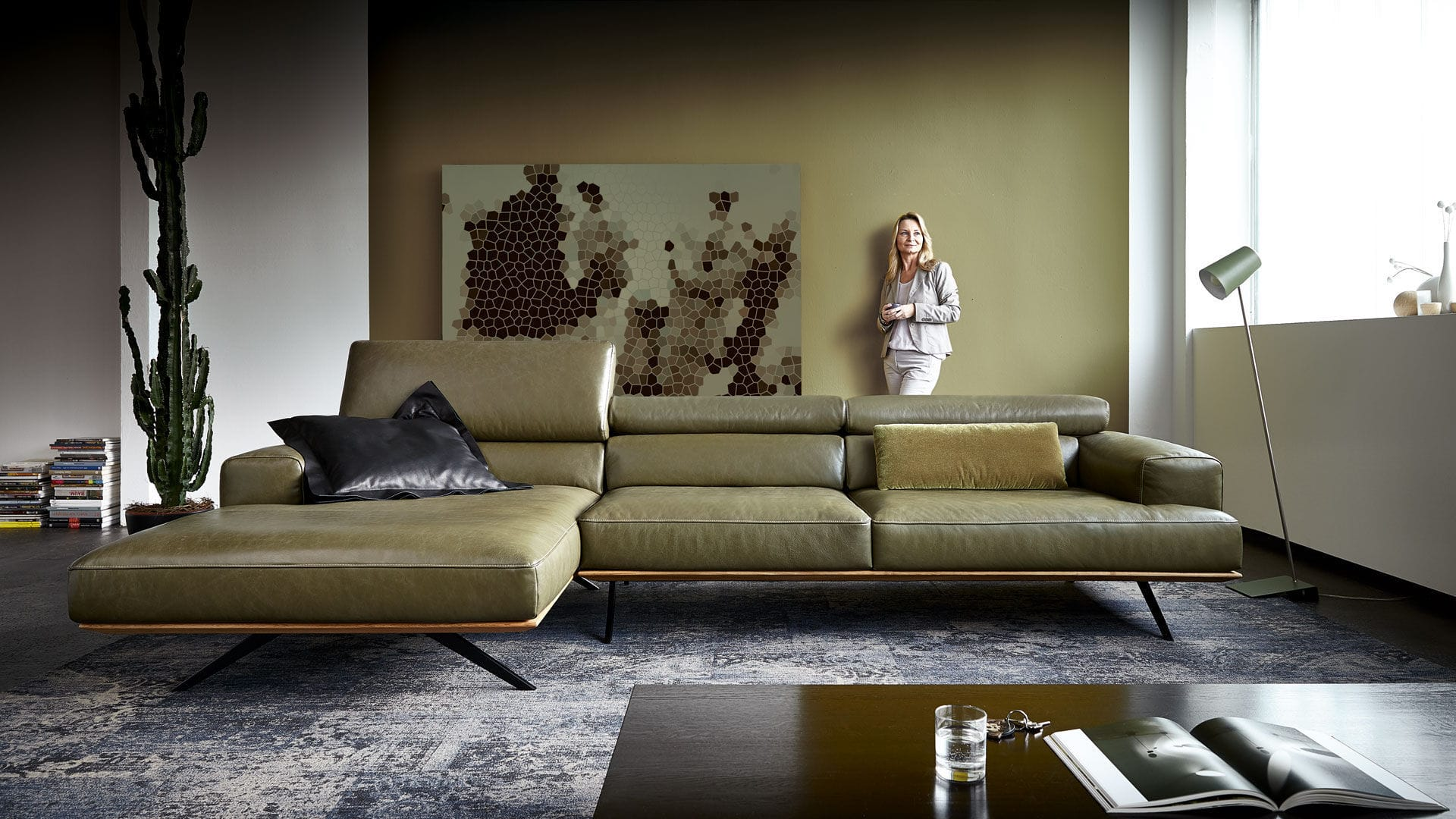 Corner Sofa Contemporary Leather Solid Wood Harris Koinor