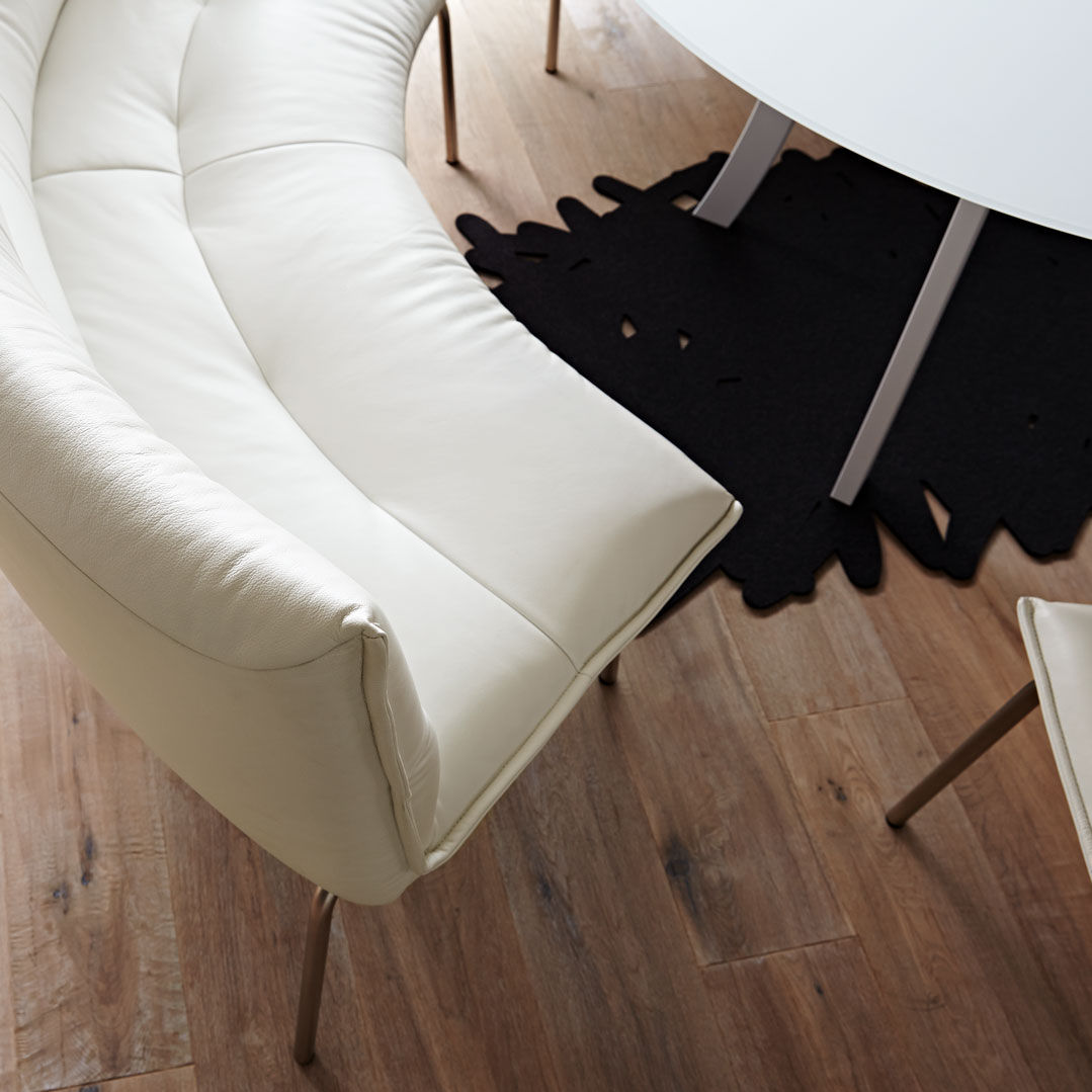 Contemporary Upholstered Bench Leather Metal With Backrest
