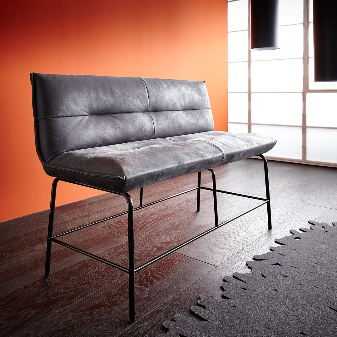 High Upholstered Bench Contemporary Leather Metal Berry By