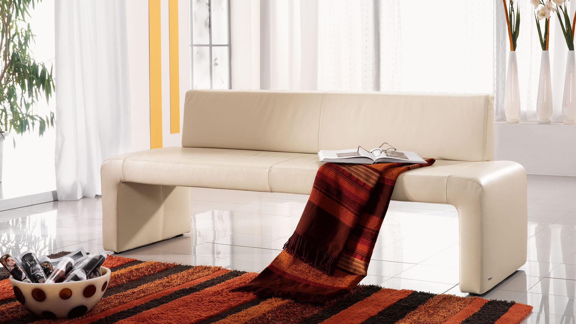 Contemporary Upholstered Bench Leather Stainless Steel Plastic