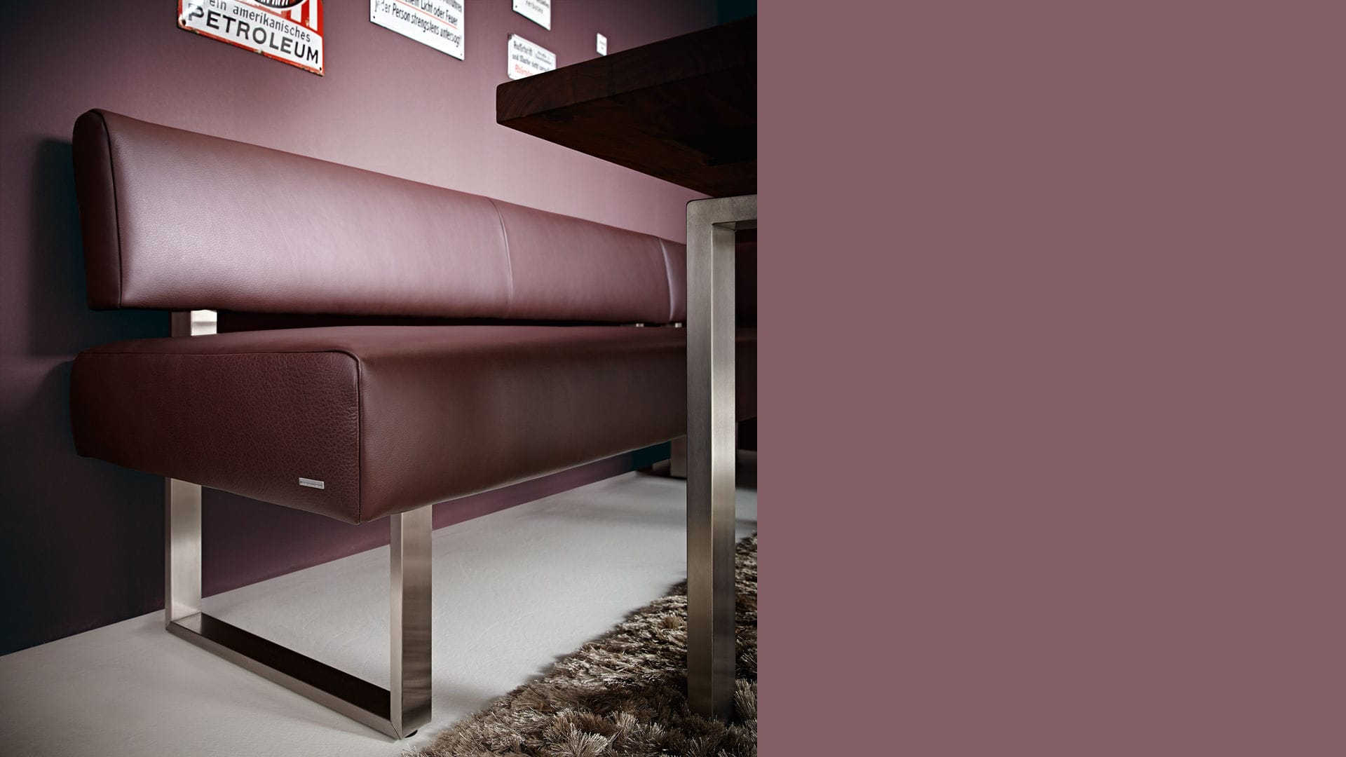 Modular Upholstered Bench Contemporary Fabric Leather