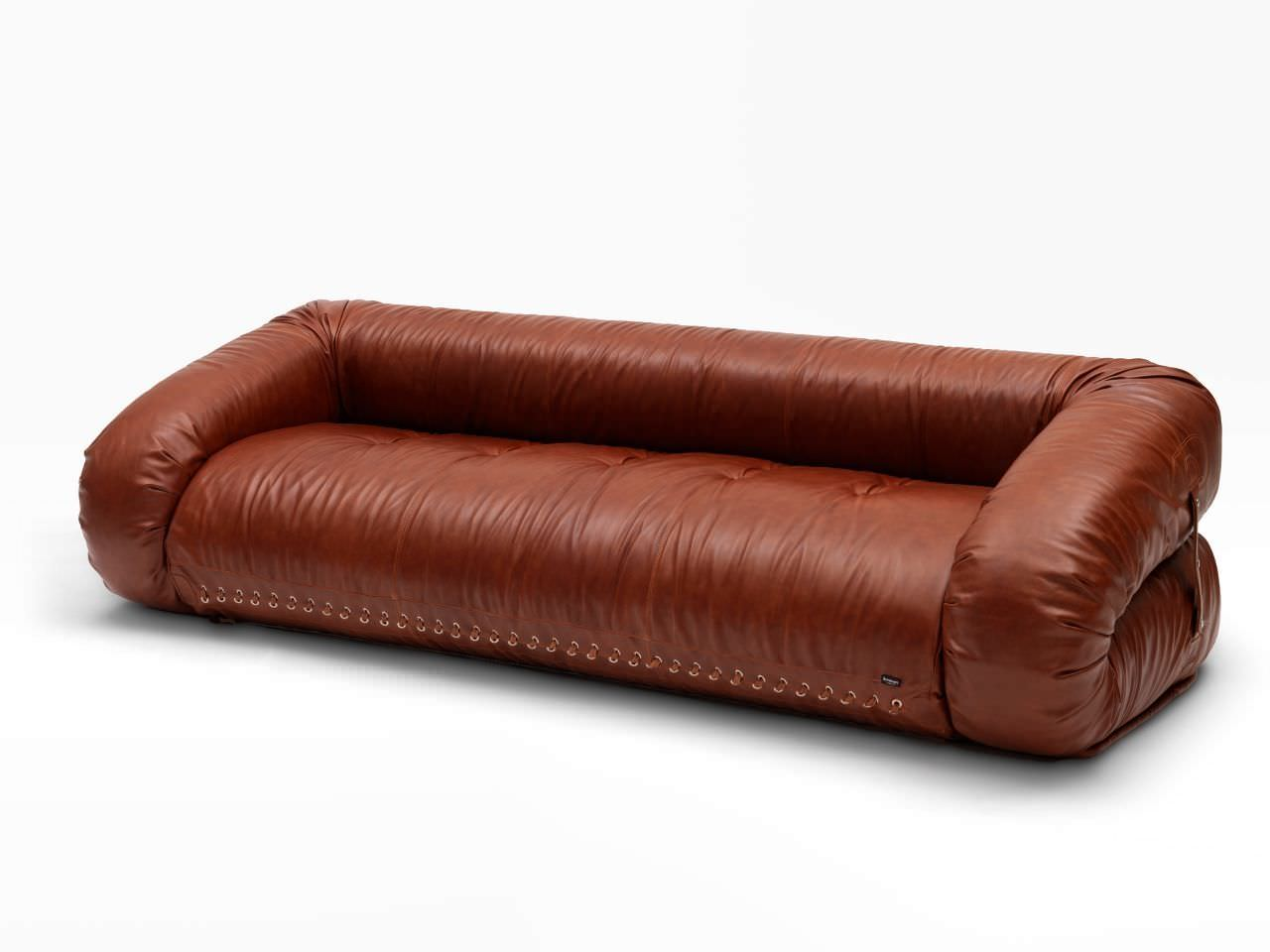 Sofa bed / contemporary / leather / 3-seater - ANFIBIO by Alessandro ...
