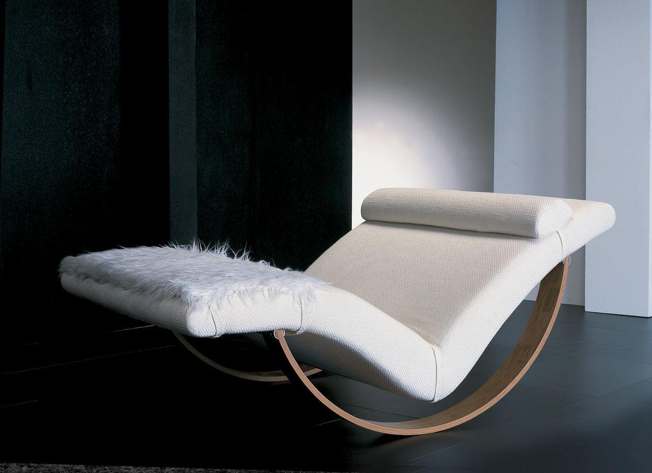 Contemporary chaise longue / fabric / metal / rocker - GABBIANO by ...