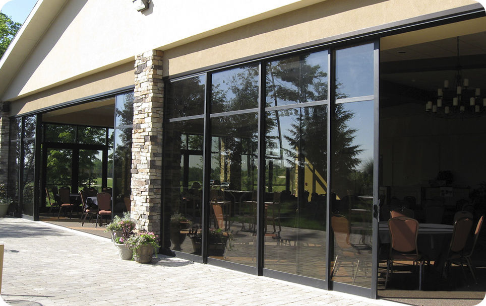 Commercial Interior Sliding Glass Doors sliding patio door / aluminum / double-glazed - solar innovations