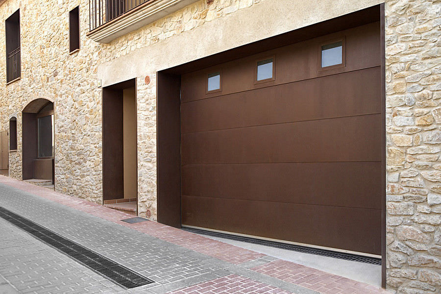 Sectional Garage Door / COR TEN® Steel / Aluminum / Automatic ...