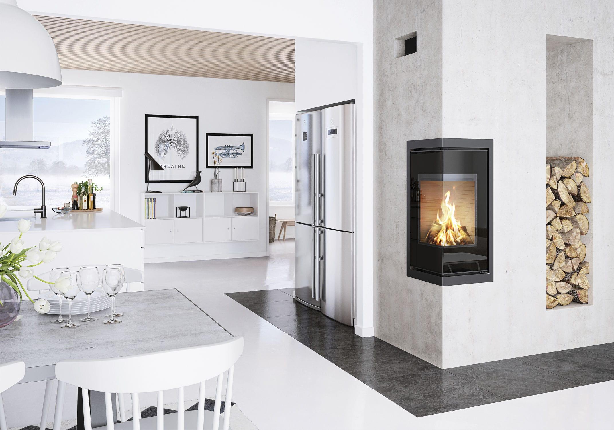 Wood heating stove / contemporary / corner / 2-sided Q-BE INSERT attika