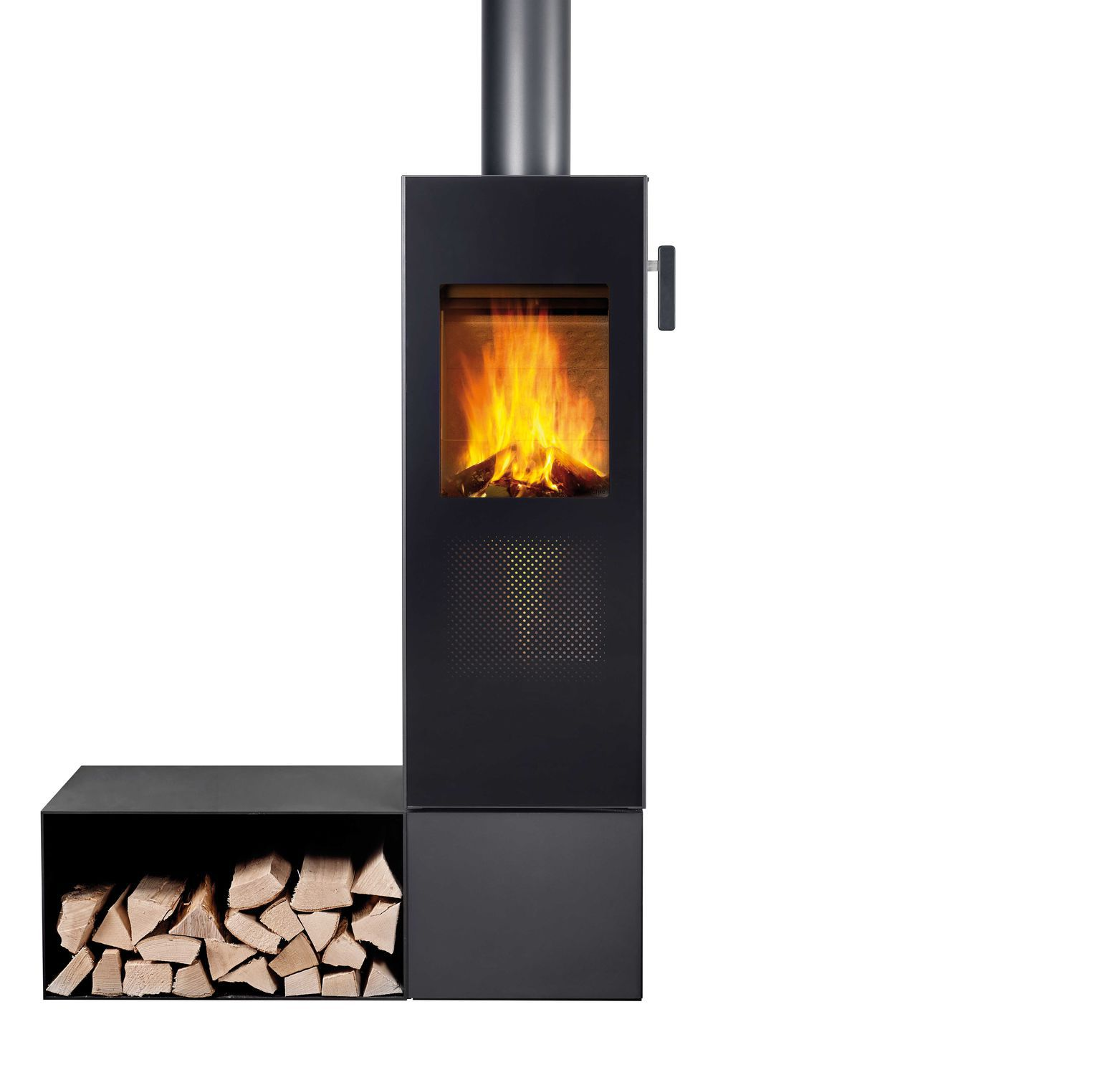 Wood heating stove / contemporary / metal bionic fire STUDIO attika ...