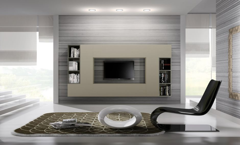 contemporary tv wall unit / wooden / lacquered wood - light 6_7 - orme