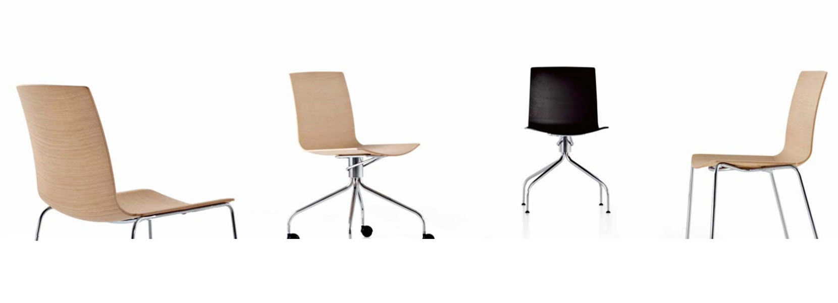 contemporary office chair / fabric / oak / molded plywood - data