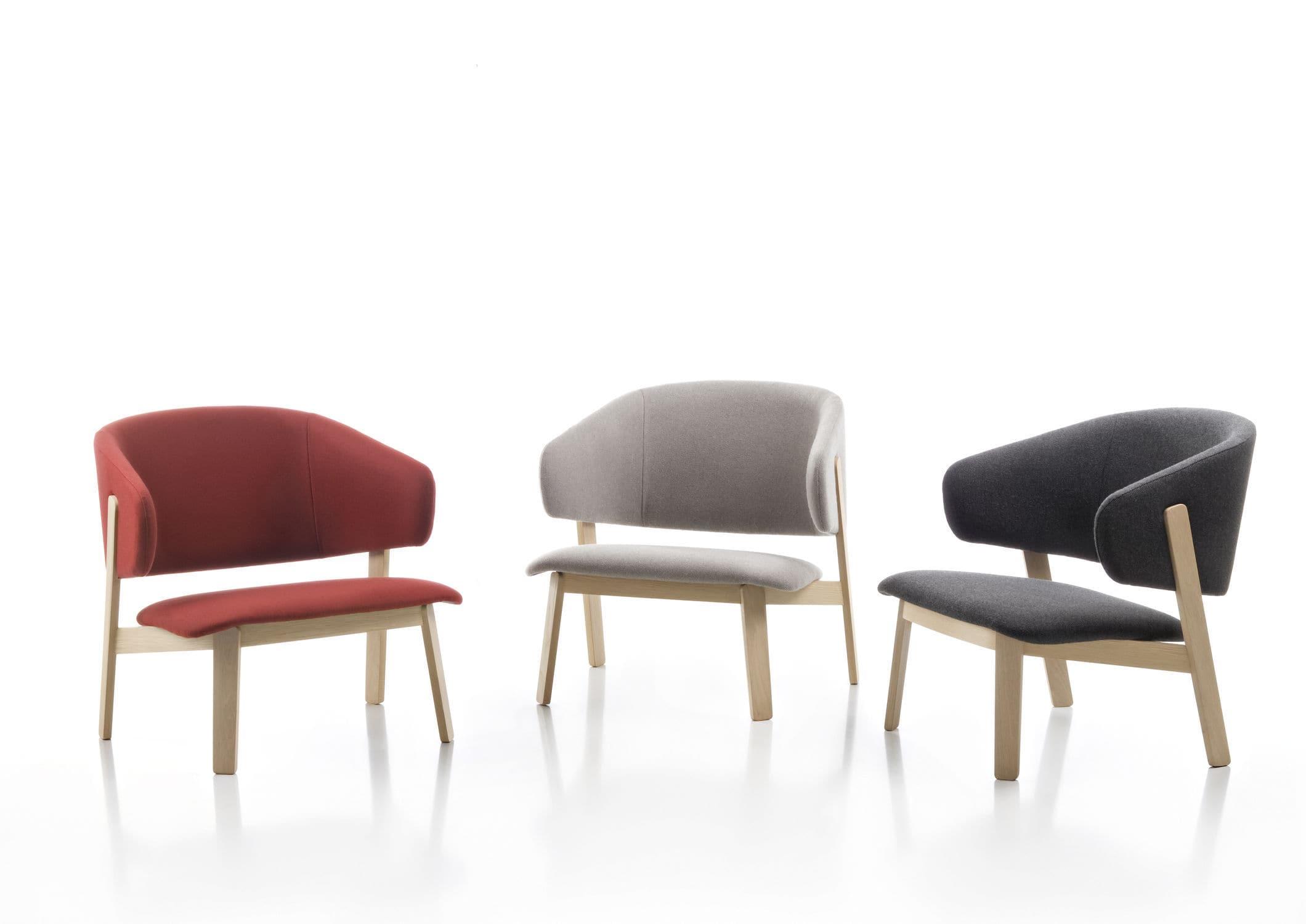 ... Scandinavian Design Armchair / Wooden / Fabric / Leather ...