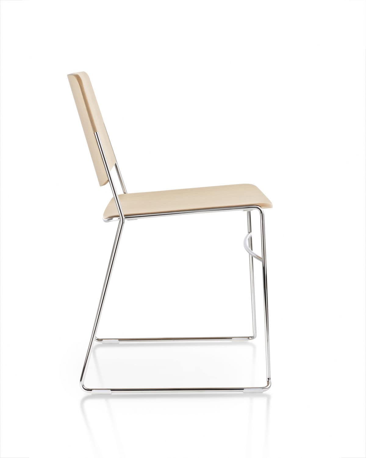 stackable conference chair sled base oak molded plywood link