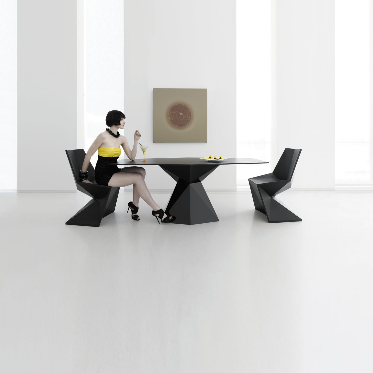 Contemporary dining table glass polyethylene HPL VERTEX