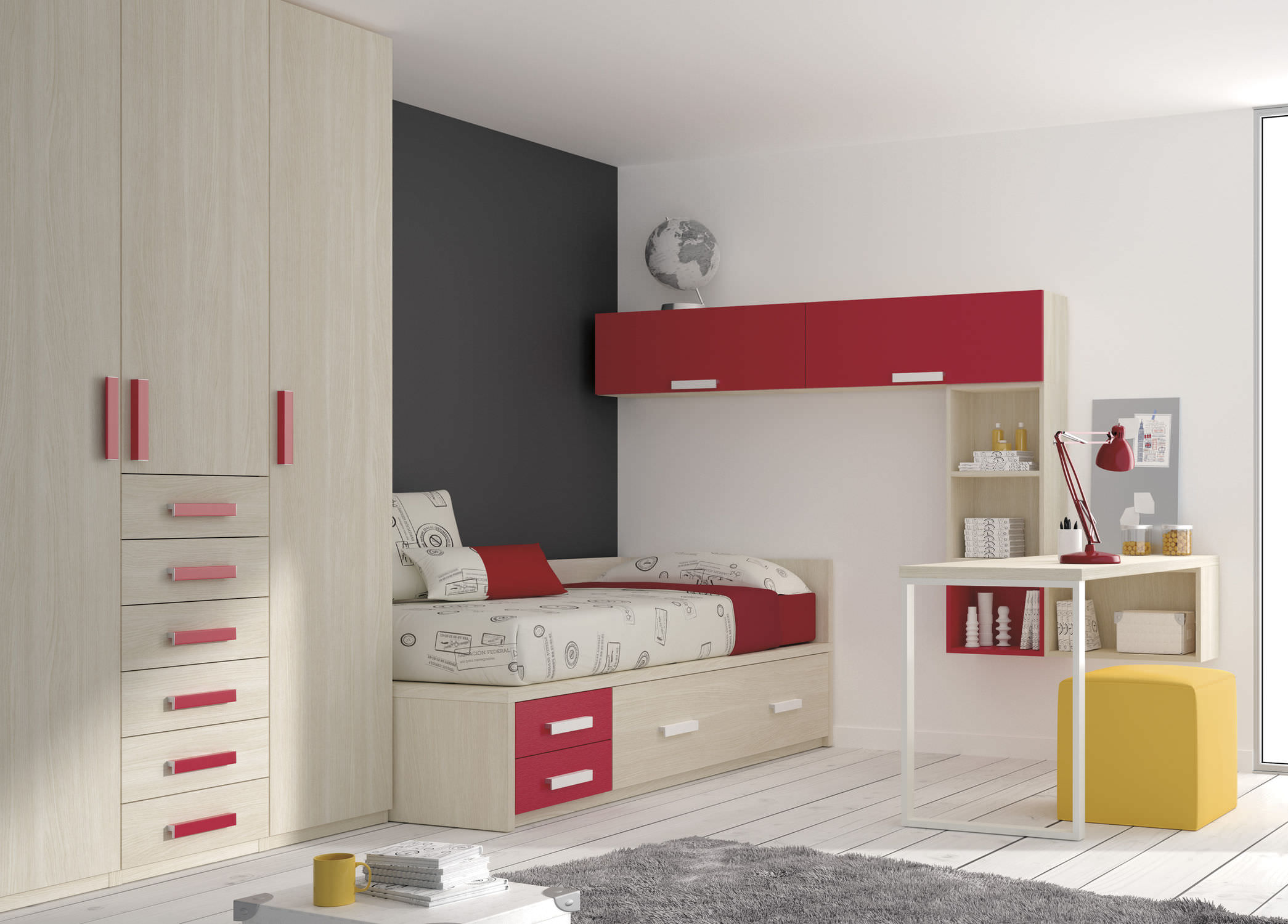 Uni children s bedroom furniture set white TOUCH 14 ROS 1