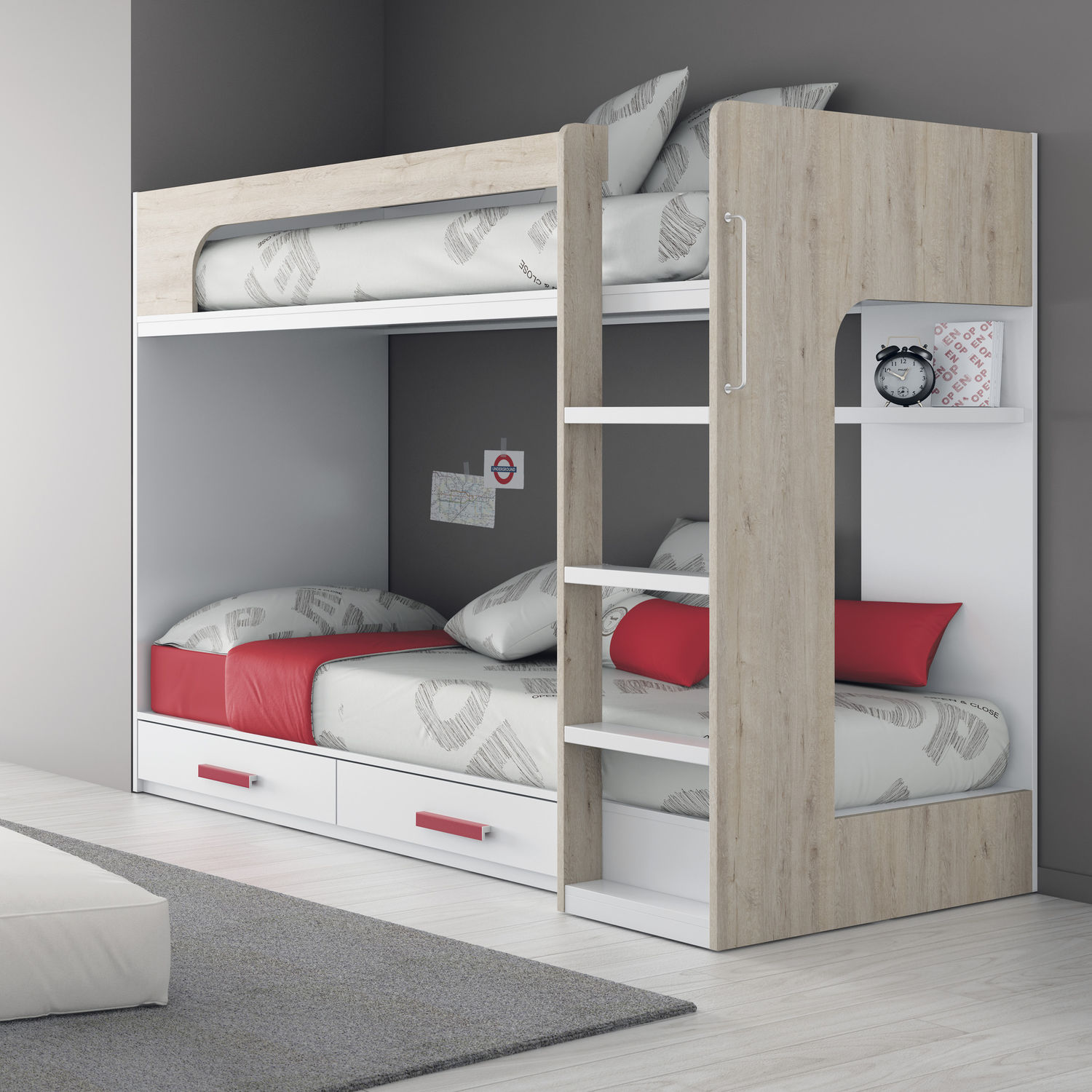 bunk bed  single  contemporary  melamine  touch   ros   - bunk bed  single  contemporary  melamine touch  ros  sa