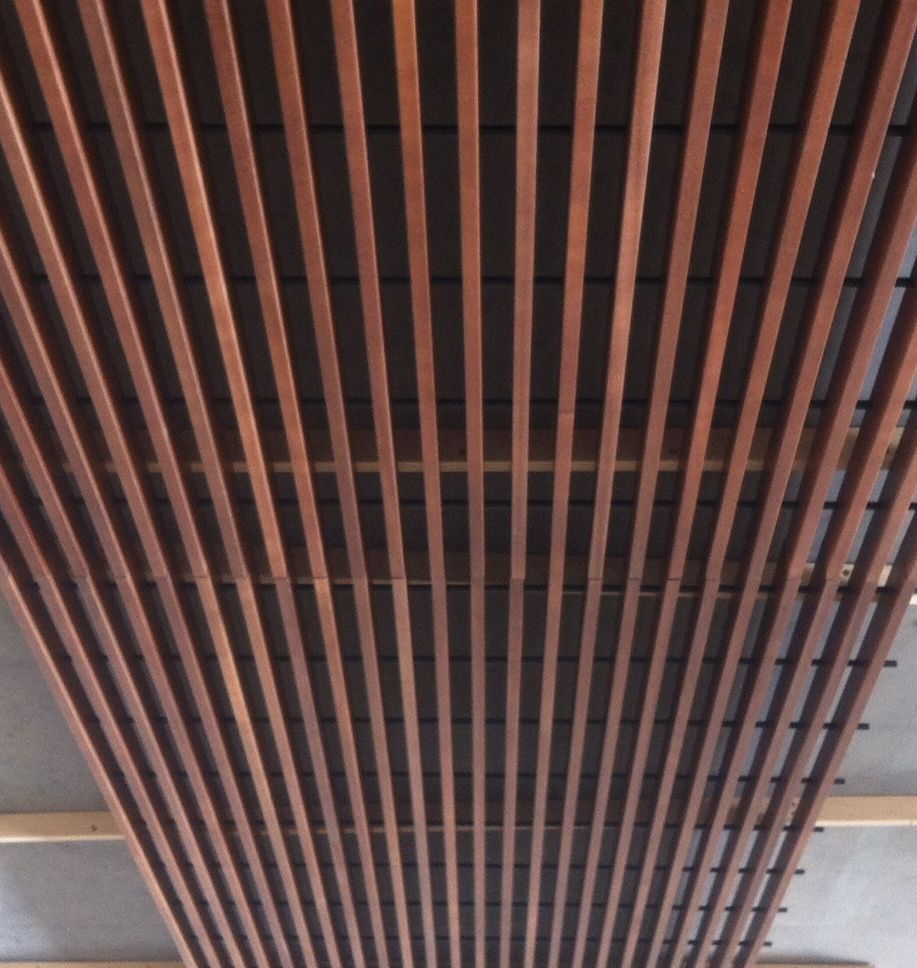 Wooden Suspended Ceiling Panel Acoustic Wire Spigoline Grid System