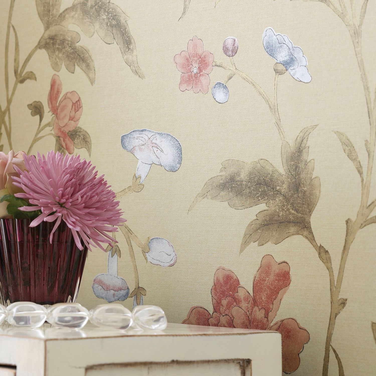 Traditional wallpaper silk floral CHINA ROSE SERIES The