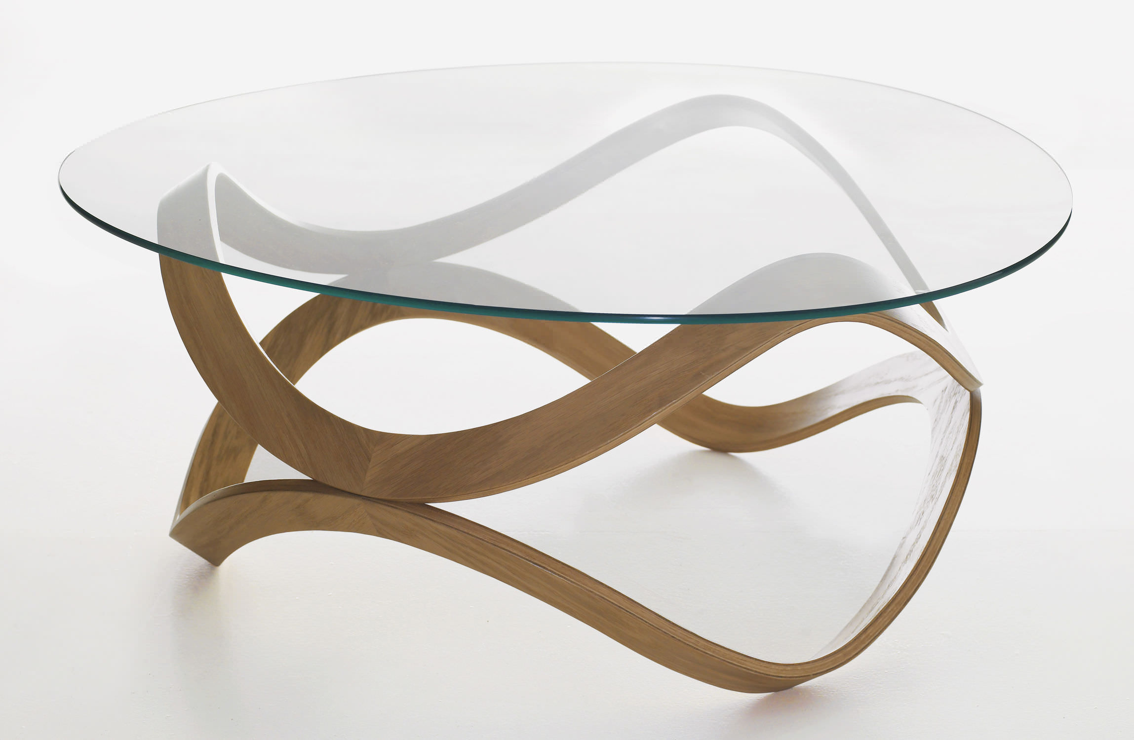 Contemporary coffee table glass oak ash NEWTON by D Sunaga