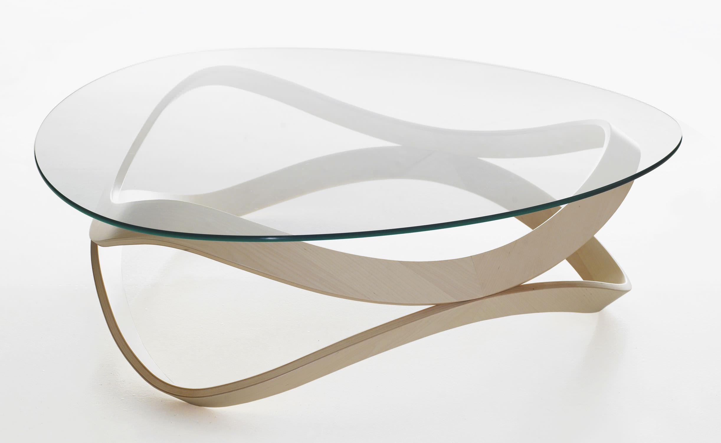Contemporary coffee table glass oak ash NEWTON by D Sunaga