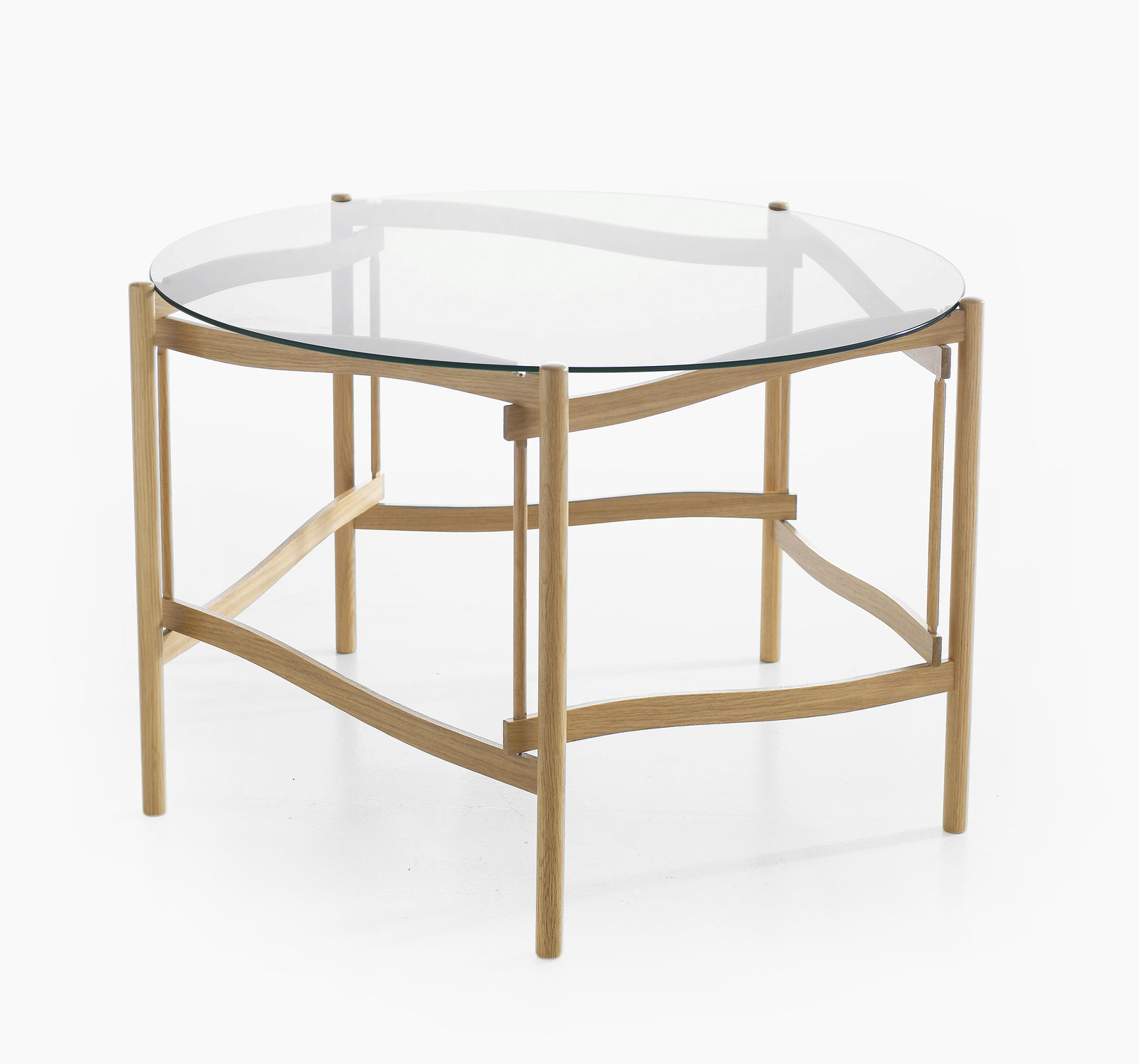Contemporary coffee table glass oak beech TEMA by Hans