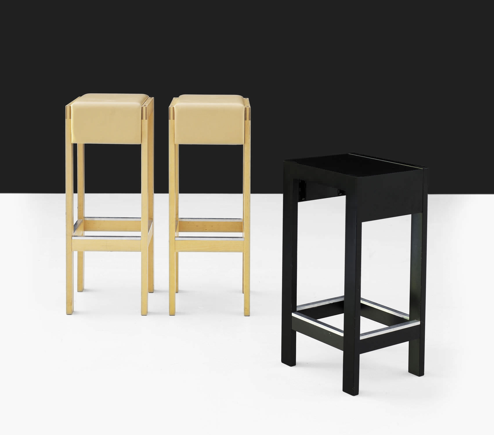 Contemporary bar stool oak birch upholstered RAPPORT by Moni Beuchel KARL ANDERSSON