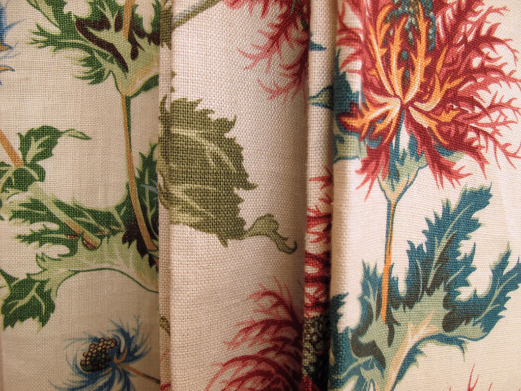 Upholstery Fabric Floral Pattern Linen Thistle George