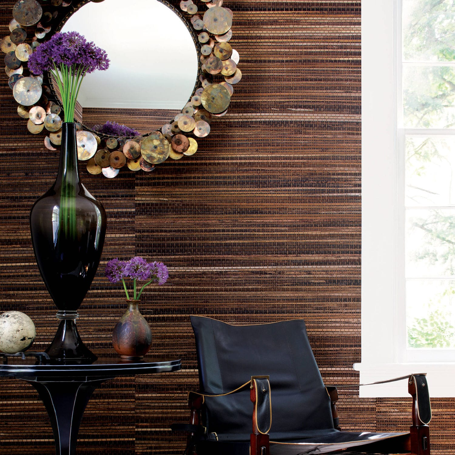 Contemporary wallpaper striped wood look GRASSCLOTH RESOURCE