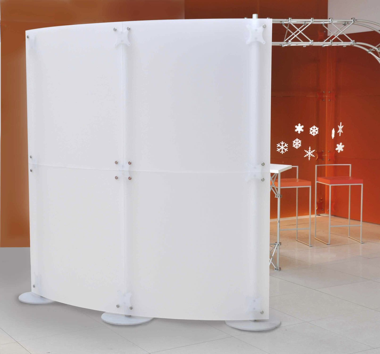Floor Mounted Office Divider Acrylic Modular Fluowall White Screen