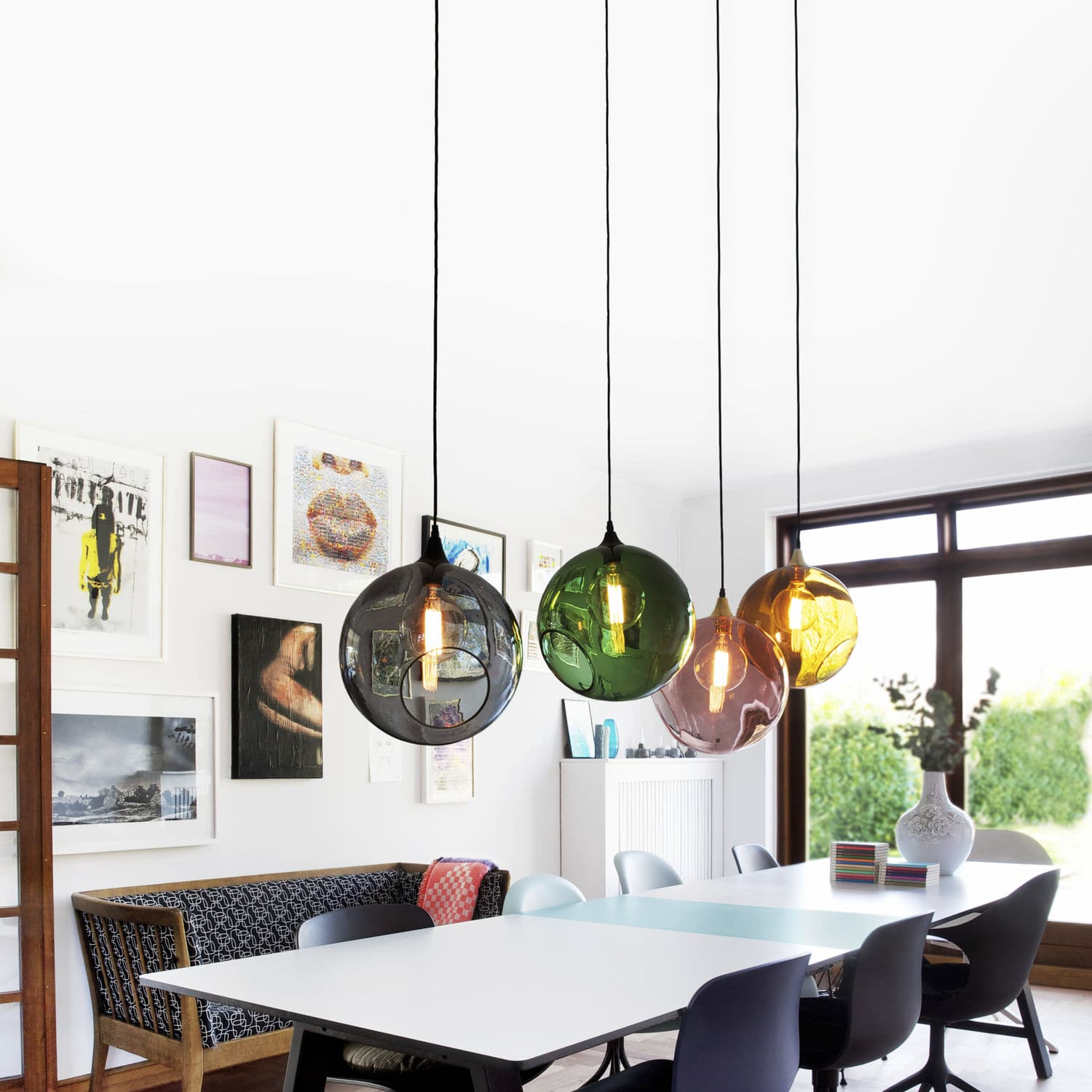 Pendant Lamp Contemporary Blown Glass Fabric