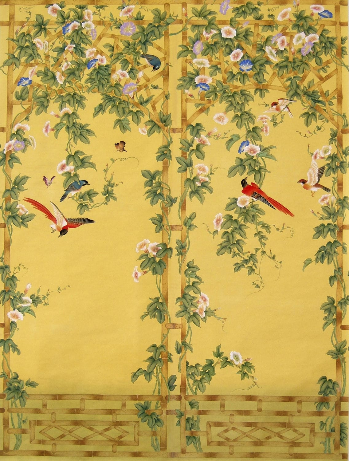 Traditional wallpaper / floral / animal motif / chinoiserie - BIRDS ...