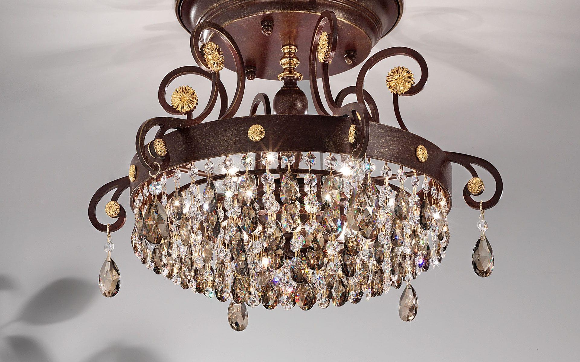 ... classic ceiling light / round / brass / iron & Classic ceiling light / round / brass / iron - ALLURE PL8 - Masiero